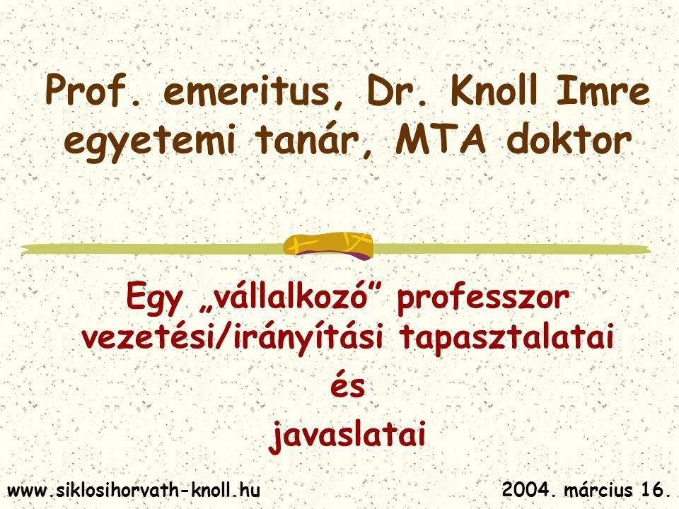 Prof. emeritus, Dr. Knoll Imre egyetemi tanár, MTA doktor