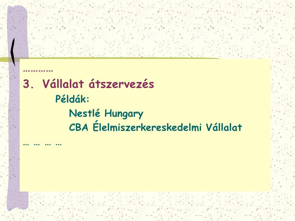 ………… Vállalat átszervezés Nestlé Hungary