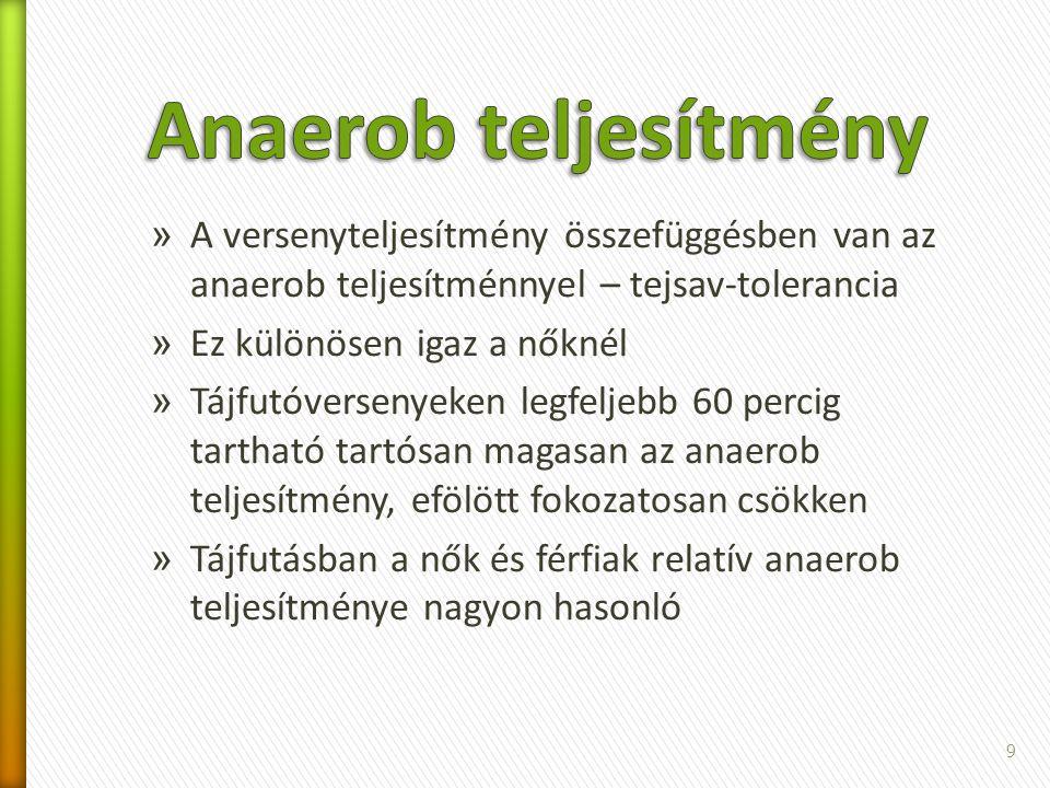 Anaerob teljesítmény A versenyteljesítmény összefüggésben van az anaerob teljesítménnyel – tejsav-tolerancia.