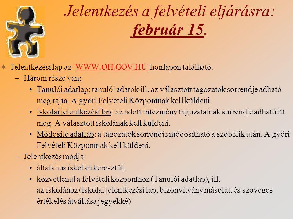 Jelentkezés a felvételi eljárásra: február 15.