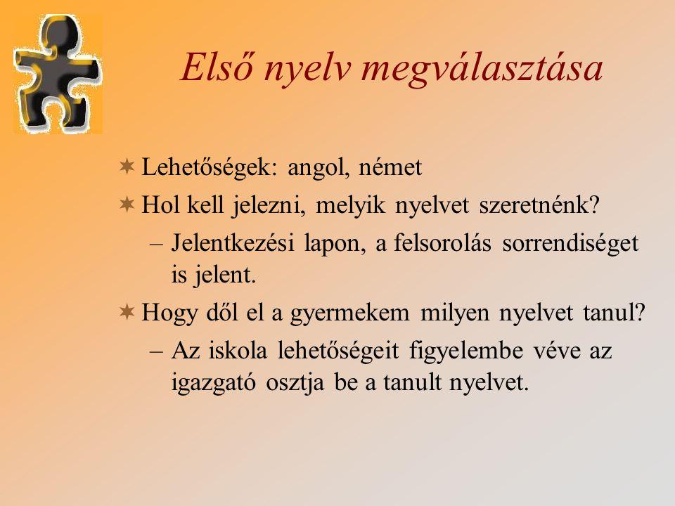 Első nyelv megválasztása