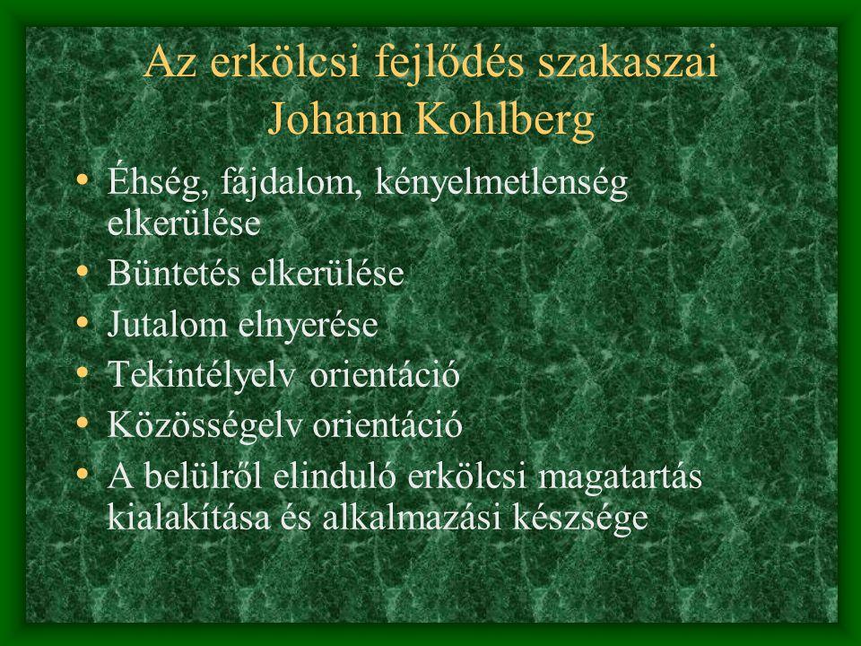 Az erkölcsi fejlődés szakaszai Johann Kohlberg