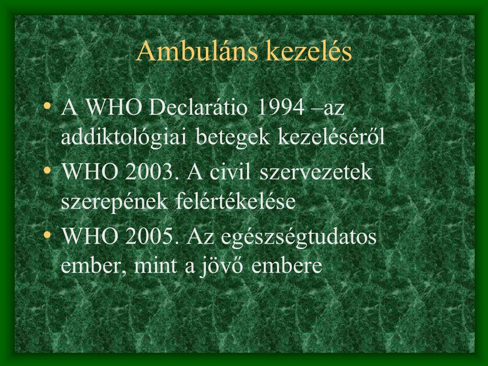 Ambuláns kezelés A WHO Declarátio 1994 –az addiktológiai betegek kezeléséről. WHO 2003. A civil szervezetek szerepének felértékelése.