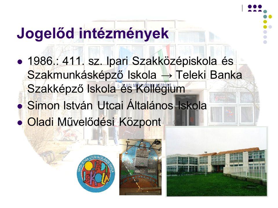 Jogelőd intézmények 1986.: 411. sz. Ipari Szakközépiskola és Szakmunkásképző Iskola → Teleki Banka Szakképző Iskola és Kollégium.