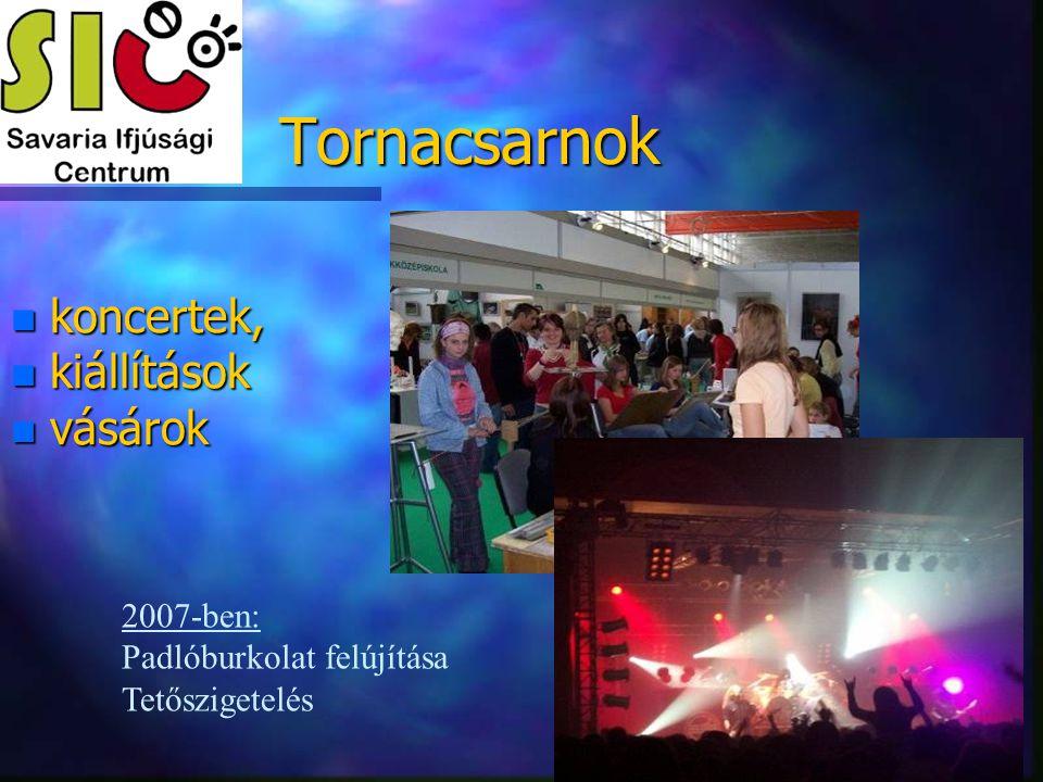 Tornacsarnok koncertek, kiállítások vásárok