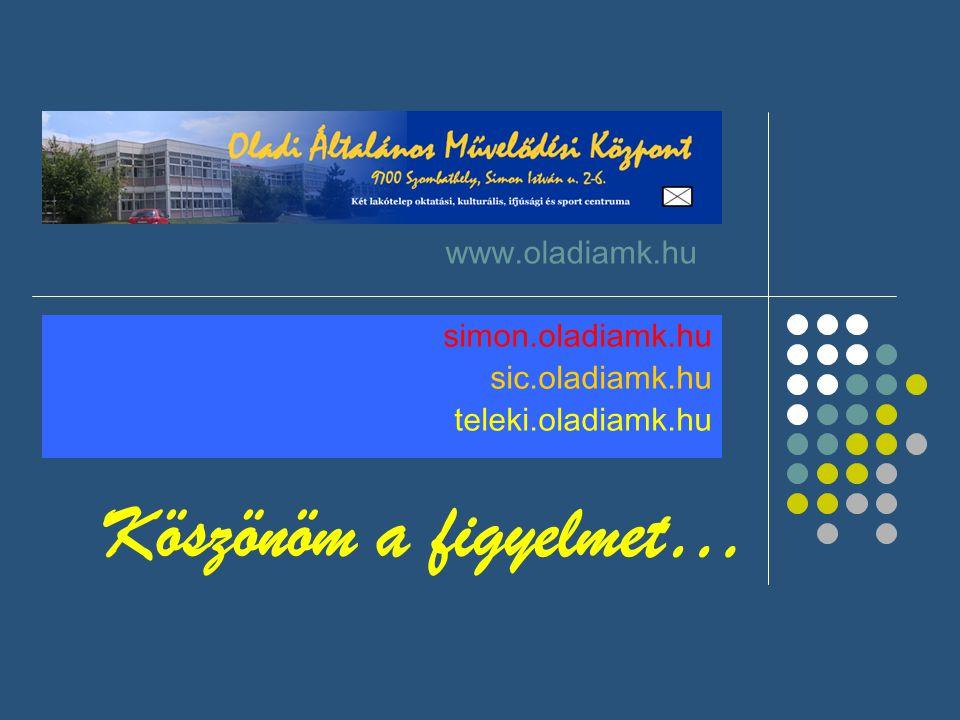 Köszönöm a figyelmet… www.oladiamk.hu simon.oladiamk.hu