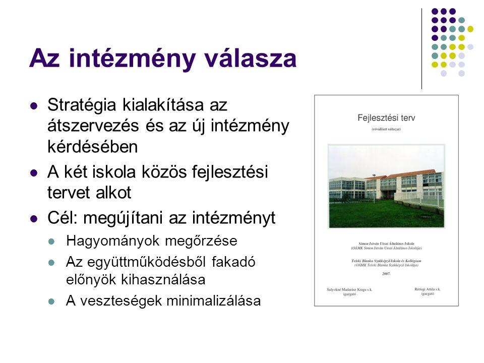 Az intézmény válasza Stratégia kialakítása az átszervezés és az új intézmény kérdésében. A két iskola közös fejlesztési tervet alkot.