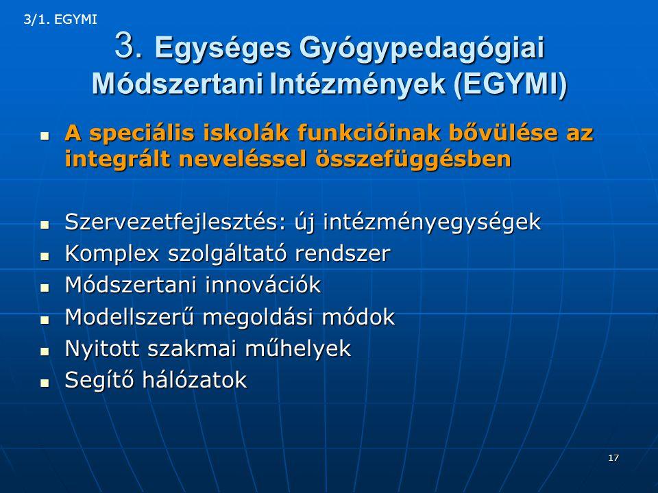 3. Egységes Gyógypedagógiai Módszertani Intézmények (EGYMI)