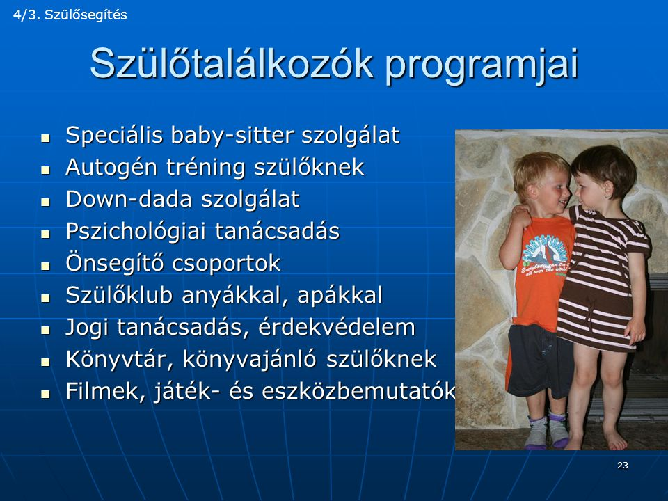 Szülőtalálkozók programjai