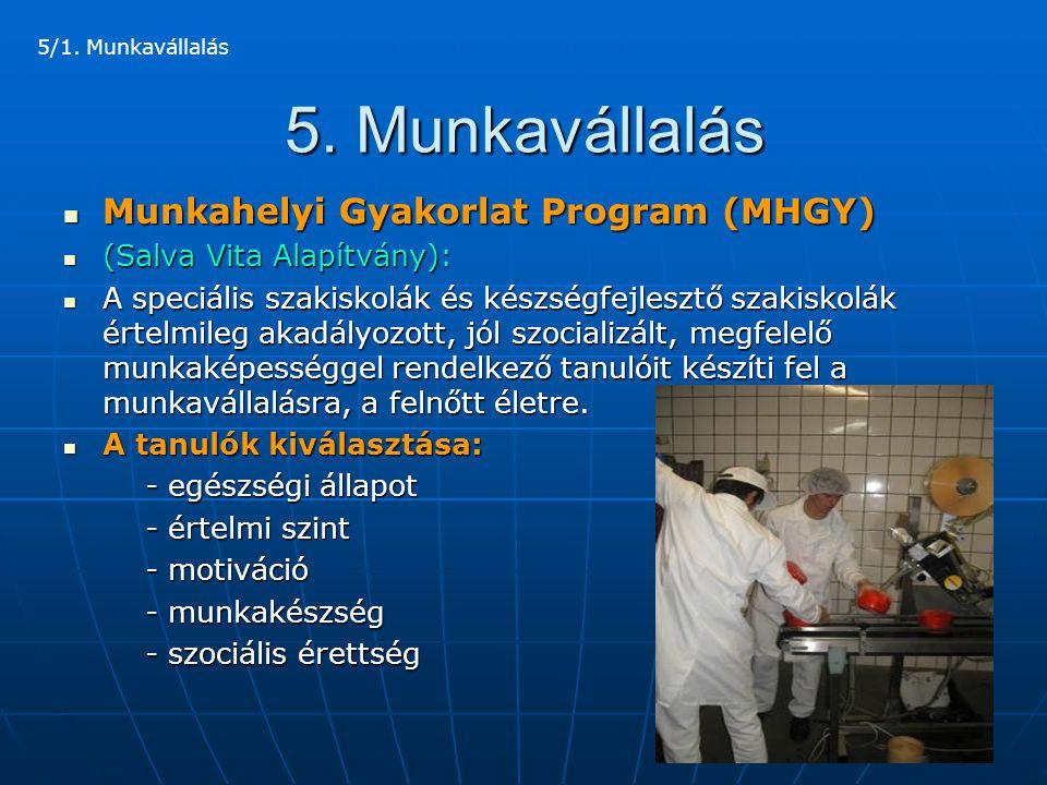 5. Munkavállalás Munkahelyi Gyakorlat Program (MHGY)