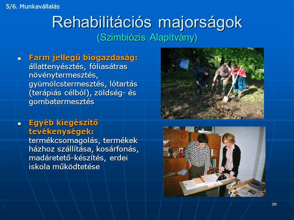 Rehabilitációs majorságok (Szimbiózis Alapítvány)