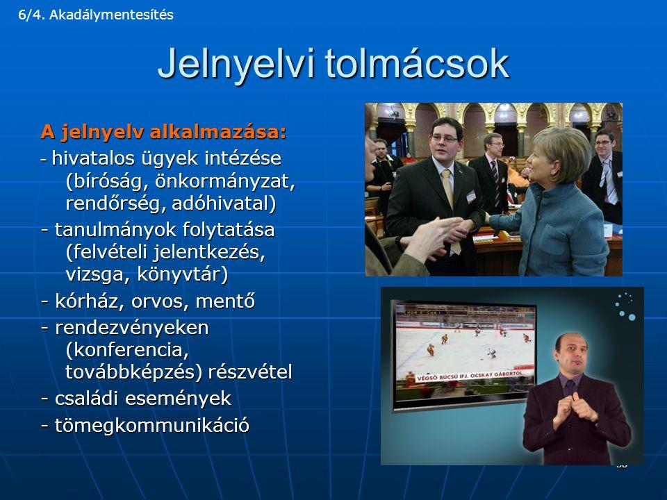Jelnyelvi tolmácsok A jelnyelv alkalmazása: