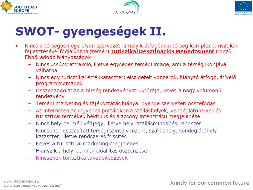 SWOT- gyengeségek II.