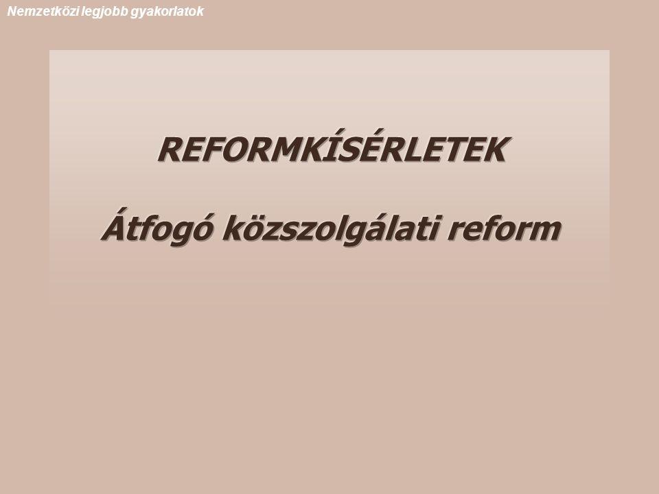 REFORMKÍSÉRLETEK Átfogó közszolgálati reform