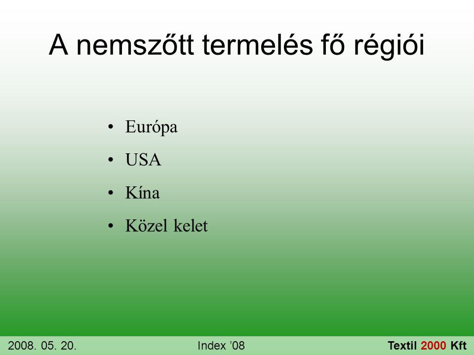 A nemszőtt termelés fő régiói