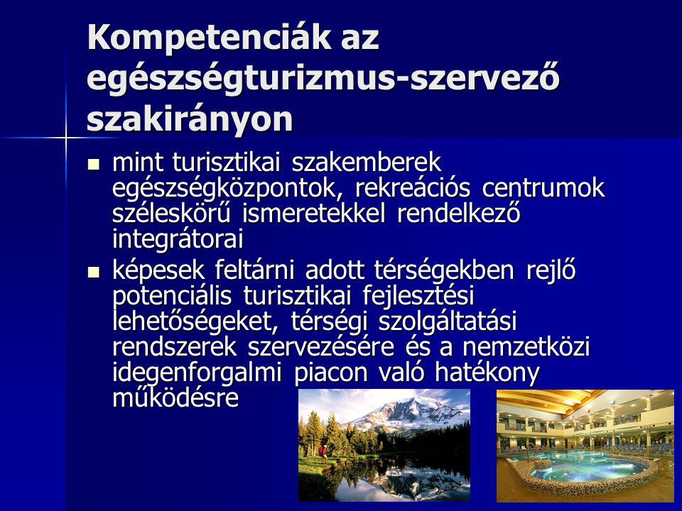 Kompetenciák az egészségturizmus-szervező szakirányon
