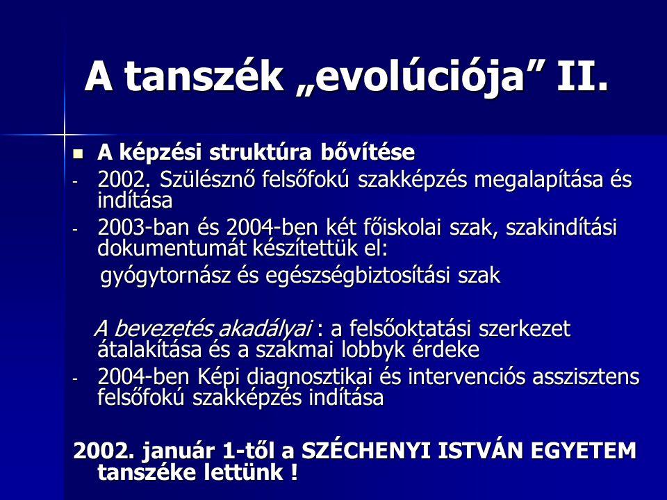 "A tanszék ""evolúciója II."