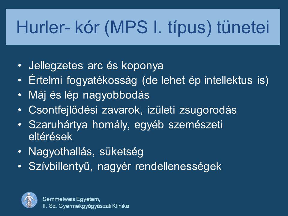 Hurler- kór (MPS I. típus) tünetei