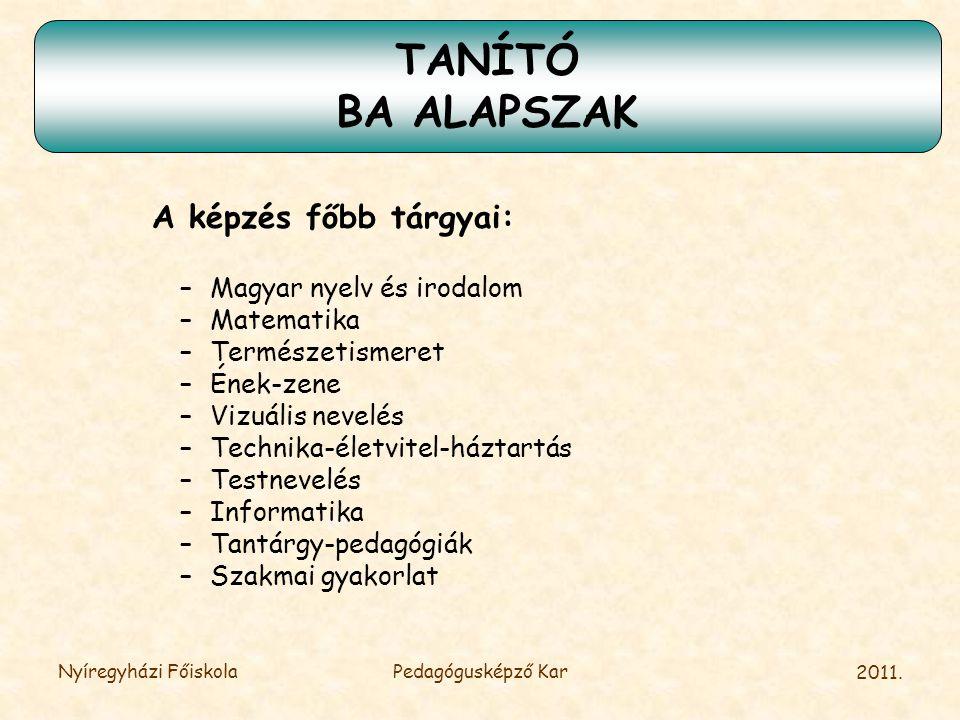 TANÍTÓ BA ALAPSZAK A képzés főbb tárgyai: Magyar nyelv és irodalom
