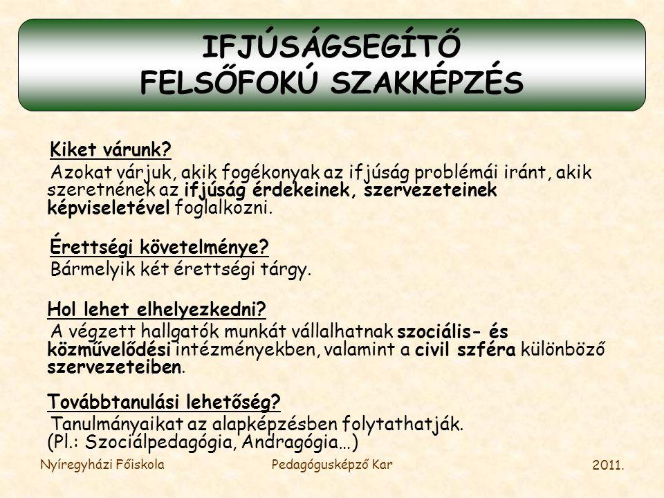 IFJÚSÁGSEGÍTŐ FELSŐFOKÚ SZAKKÉPZÉS