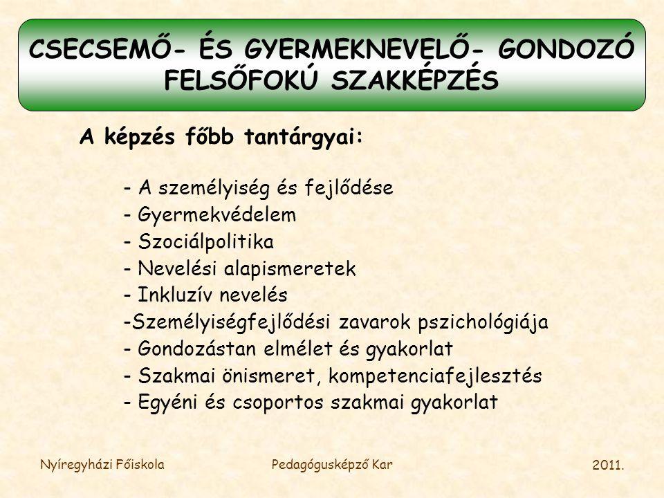 CSECSEMŐ- ÉS GYERMEKNEVELŐ- GONDOZÓ