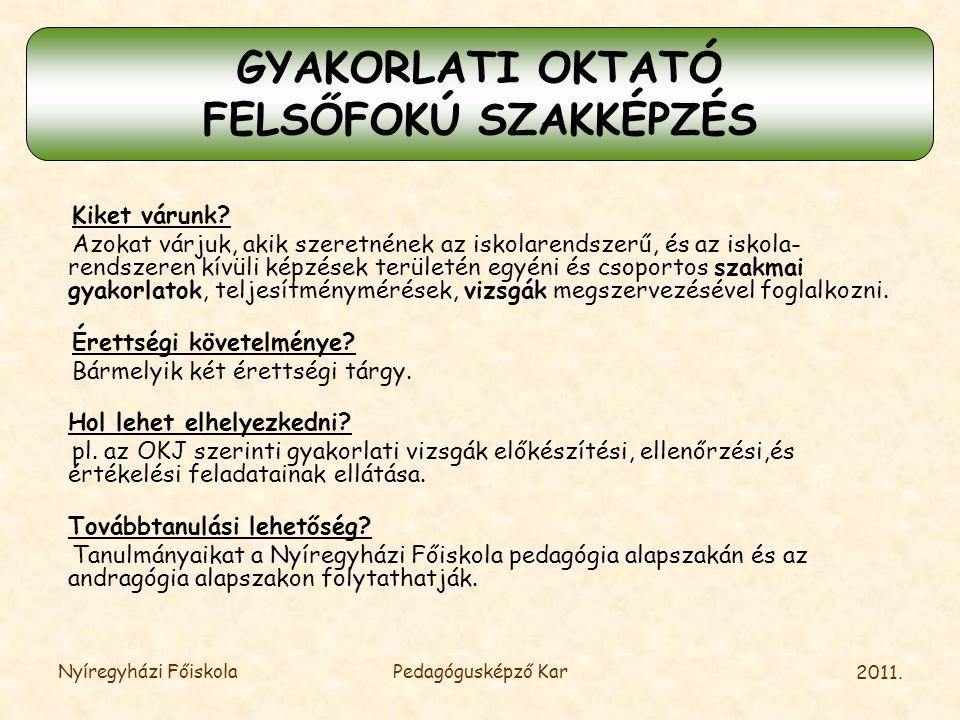 GYAKORLATI OKTATÓ FELSŐFOKÚ SZAKKÉPZÉS