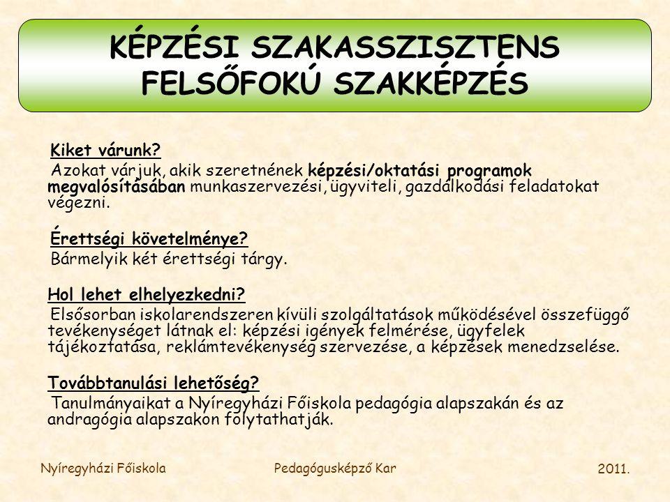 KÉPZÉSI SZAKASSZISZTENS
