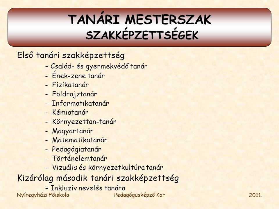 TANÁRI MESTERSZAK SZAKKÉPZETTSÉGEK