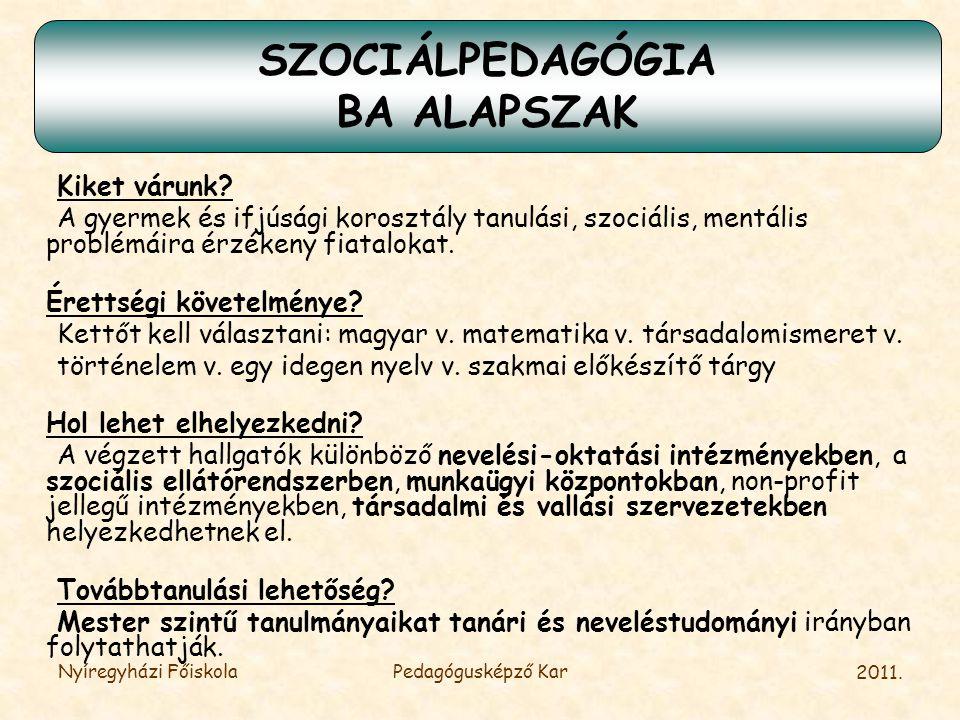 SZOCIÁLPEDAGÓGIA BA ALAPSZAK