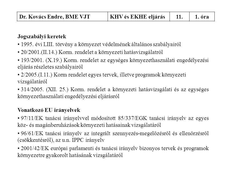 Dr. Kovács Endre, BME VJT KHV és EKHE eljárás. 11. 1. óra. Jogszabályi keretek.