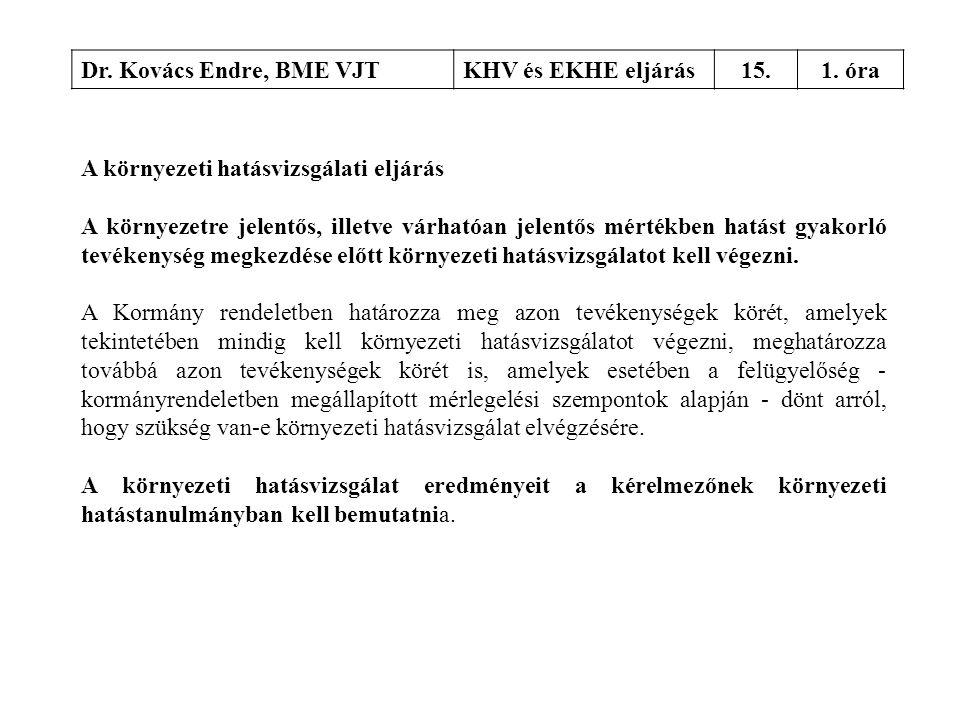 Dr. Kovács Endre, BME VJT KHV és EKHE eljárás. 15. 1. óra. A környezeti hatásvizsgálati eljárás.