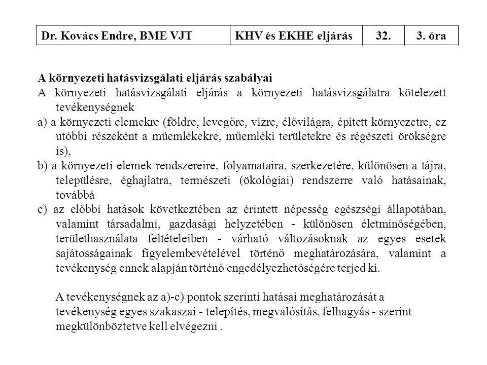 Dr. Kovács Endre, BME VJT KHV és EKHE eljárás. 32. 3. óra. A környezeti hatásvizsgálati eljárás szabályai.