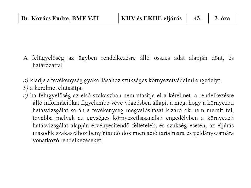 Dr. Kovács Endre, BME VJT KHV és EKHE eljárás. 43. 3. óra. A felügyelőség az ügyben rendelkezésre álló összes adat alapján dönt, és határozattal.