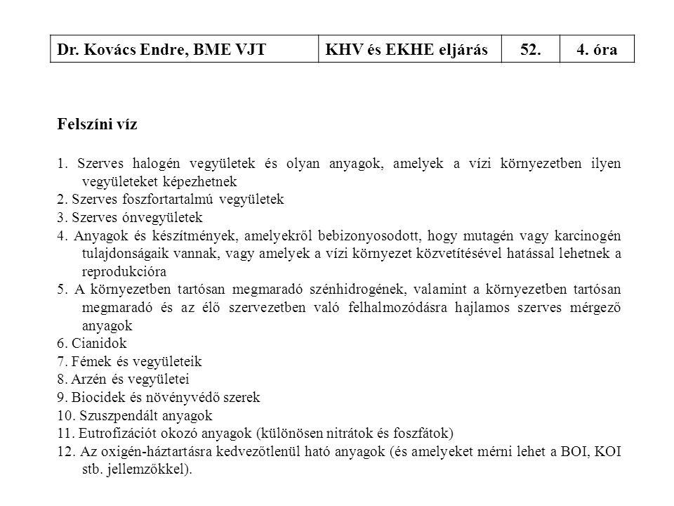 Dr. Kovács Endre, BME VJT KHV és EKHE eljárás 52. 4. óra Felszíni víz