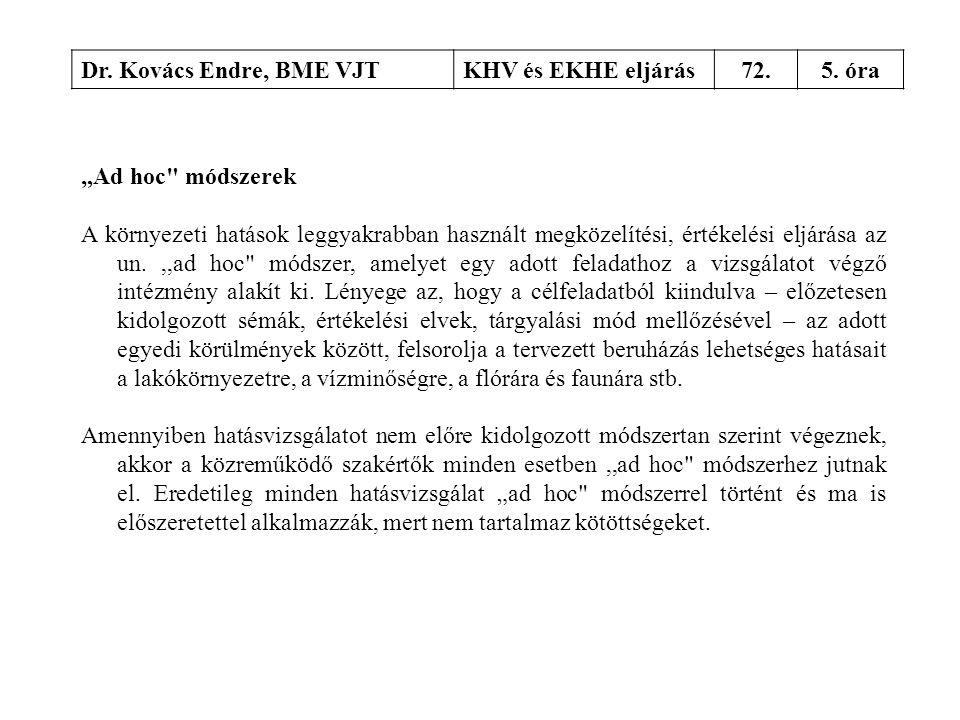 """Dr. Kovács Endre, BME VJT KHV és EKHE eljárás. 72. 5. óra. """"Ad hoc módszerek."""