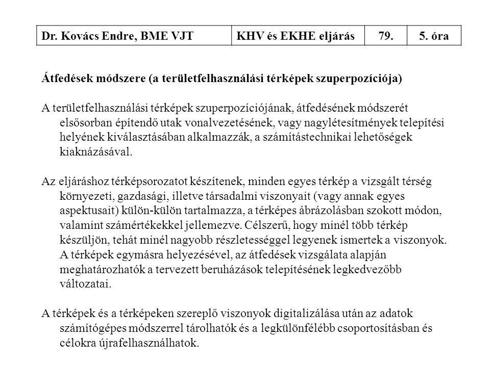 Dr. Kovács Endre, BME VJT KHV és EKHE eljárás. 79. 5. óra. Átfedések módszere (a területfelhasználási térképek szuperpozíciója)