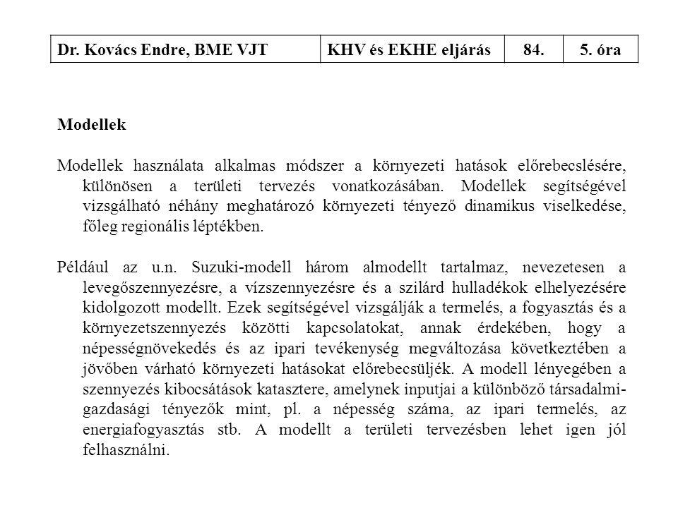 Dr. Kovács Endre, BME VJT KHV és EKHE eljárás. 84. 5. óra. Modellek.