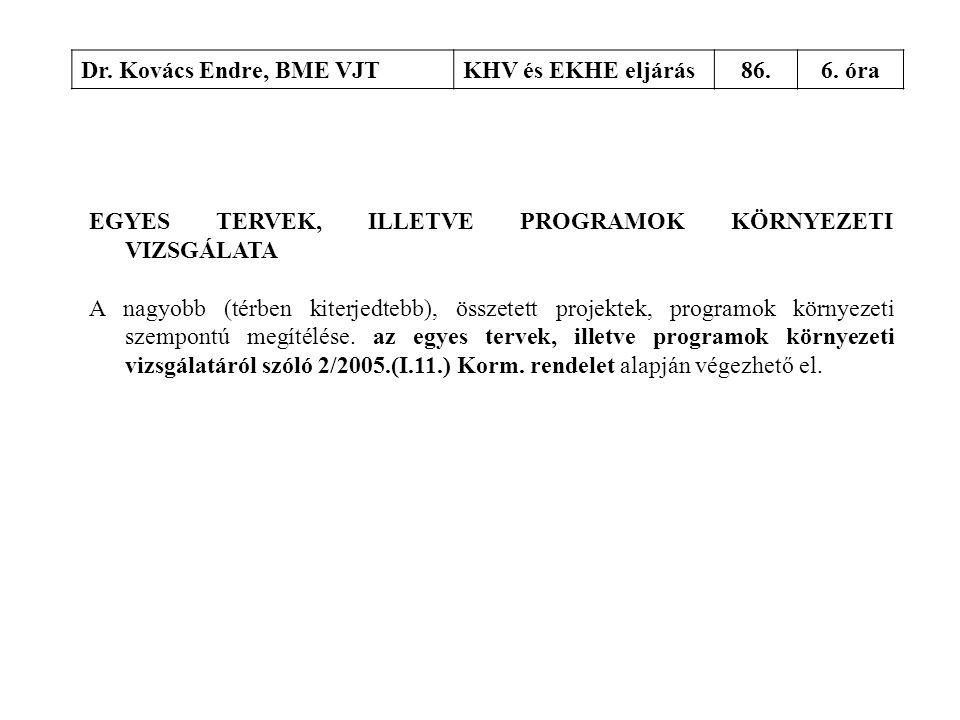 Dr. Kovács Endre, BME VJT KHV és EKHE eljárás. 86. 6. óra. EGYES TERVEK, ILLETVE PROGRAMOK KÖRNYEZETI VIZSGÁLATA.