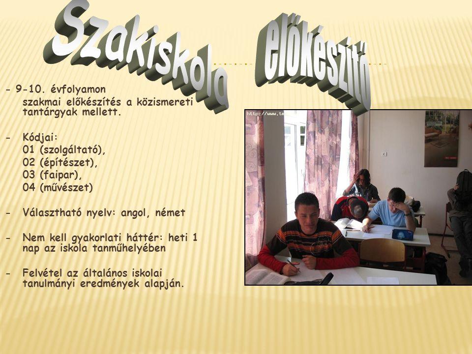 Szakiskola előkészítő - 9-10. évfolyamon