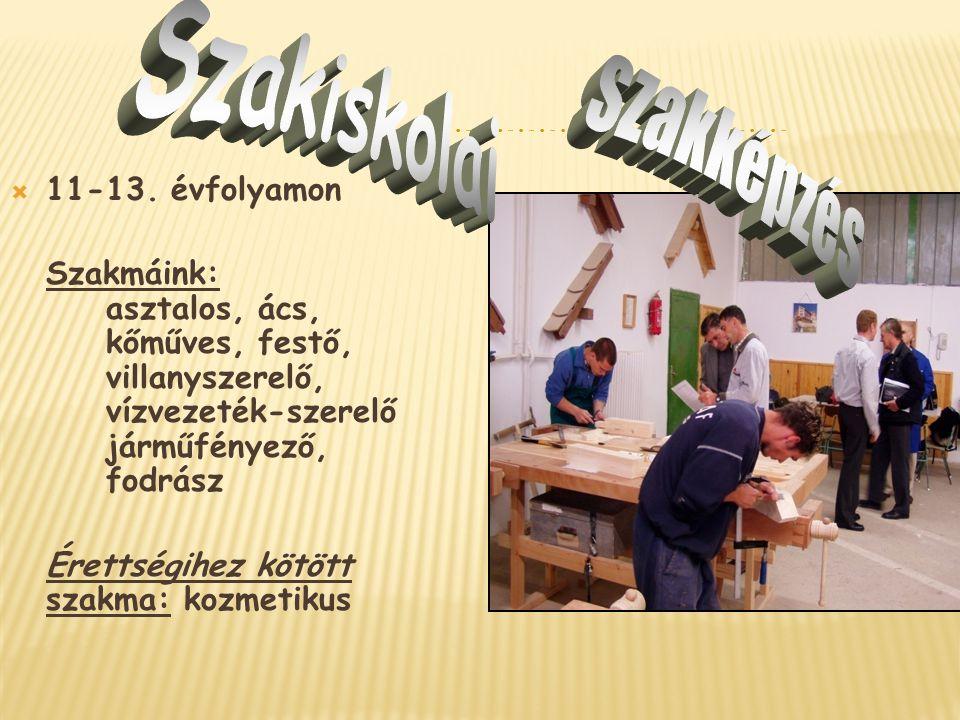 Szakiskolai szakképzés 11-13. évfolyamon