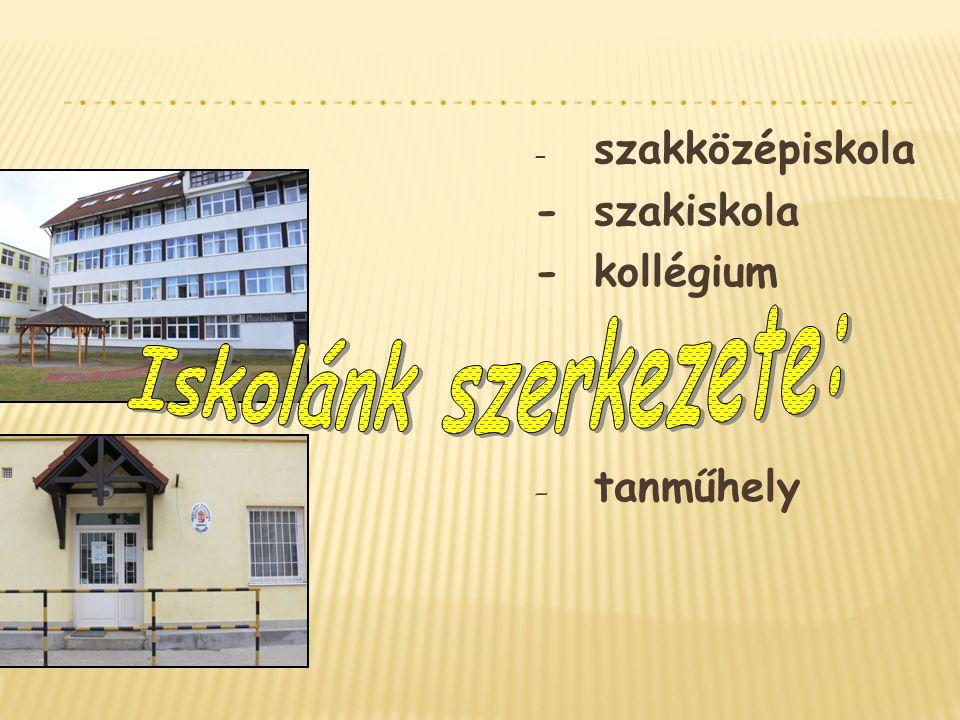 Iskolánk szerkezete: - szakiskola - kollégium - tanműhely