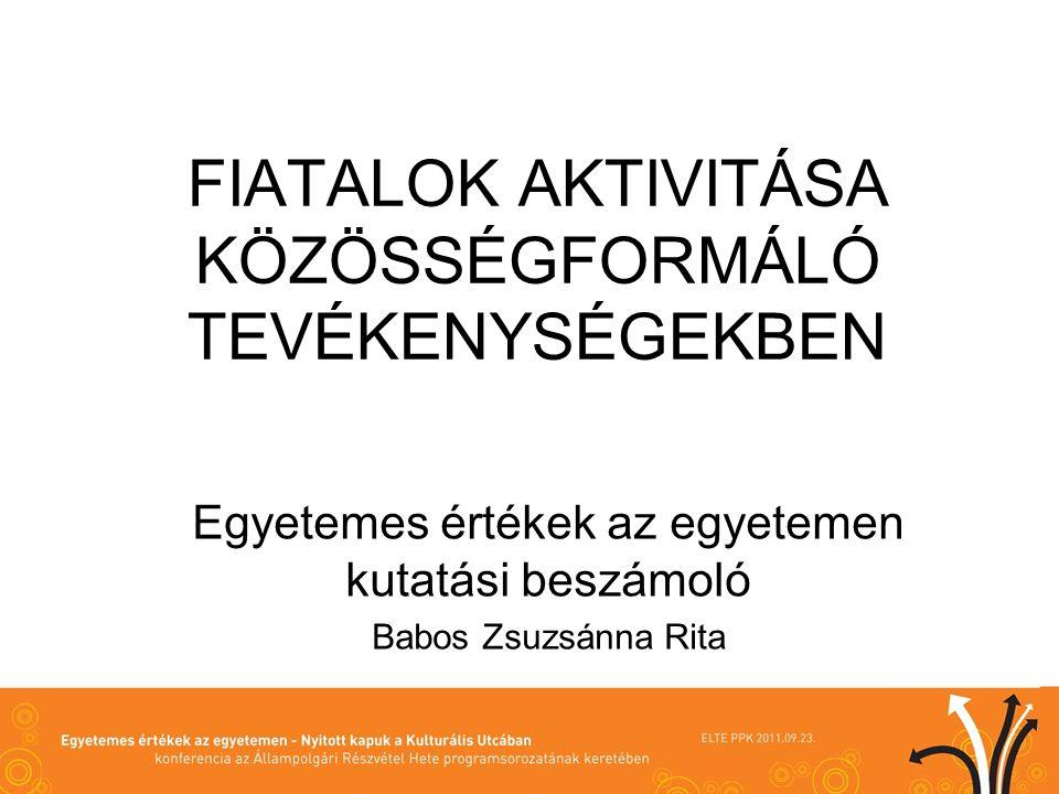 FIATALOK AKTIVITÁSA KÖZÖSSÉGFORMÁLÓ TEVÉKENYSÉGEKBEN