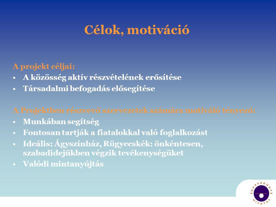 Célok, motiváció A projekt céljai: