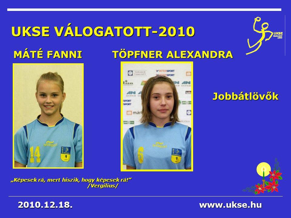 UKSE VÁLOGATOTT-2010 MÁTÉ FANNI TÖPFNER ALEXANDRA Jobbátlövők