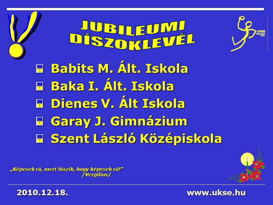 JUBILEUMI DÍSZOKLEVÉL Babits M. Ált. Iskola Baka I. Ált. Iskola