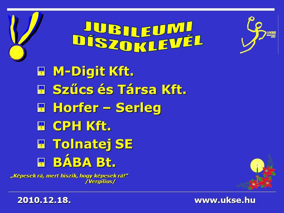 JUBILEUMI DÍSZOKLEVÉL M-Digit Kft. Szűcs és Társa Kft. Horfer – Serleg