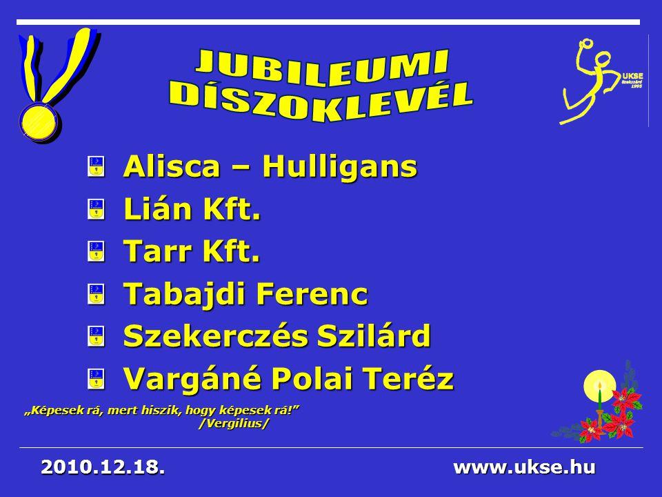 JUBILEUMI DÍSZOKLEVÉL Alisca – Hulligans Lián Kft. Tarr Kft.