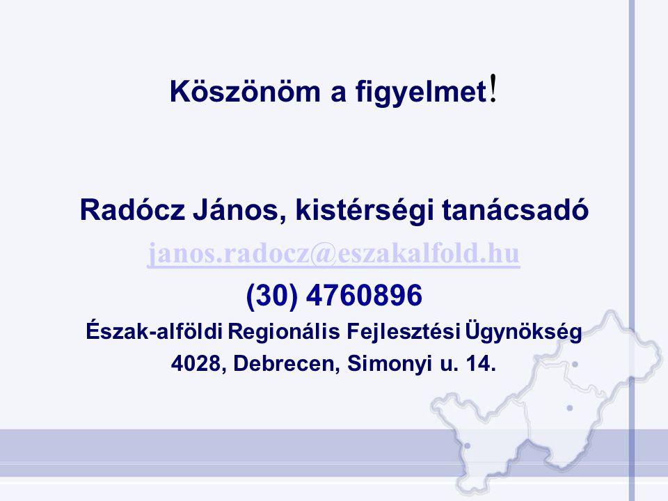 Radócz János, kistérségi tanácsadó janos.radocz@eszakalfold.hu