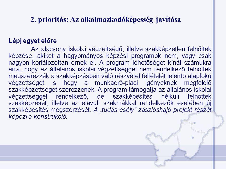 2. prioritás: Az alkalmazkodóképesség javítása