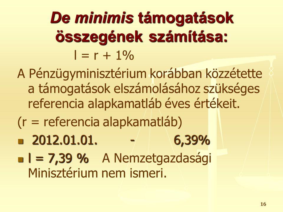 De minimis támogatások összegének számítása: